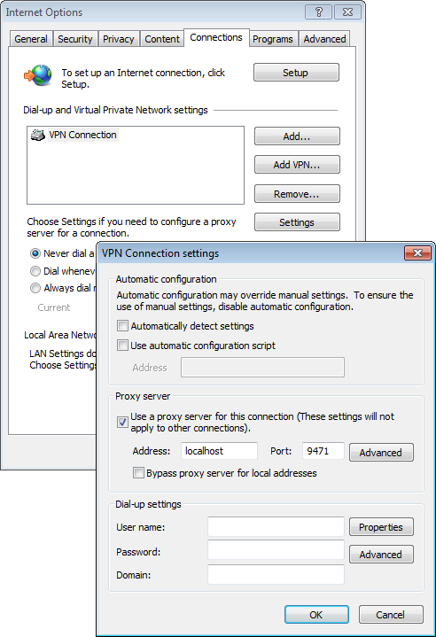 Internet Options connection settings