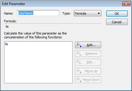 Edit parameter dialog