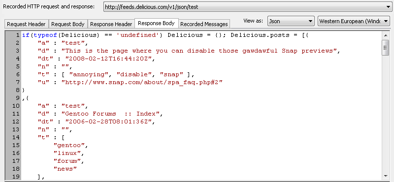 Formatted View of JSON in Requests and Server Responses