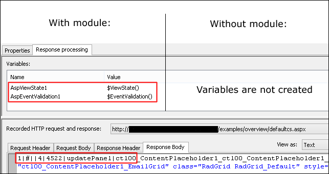 Two ASP.net variables are created